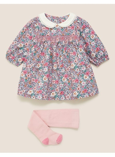 Marks & Spencer Çiçek Desenli Elbise ve Külotlu Çorap Takımı Pembe